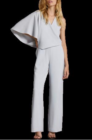 Asymmetric Cape Jumpsuit – Slate Grey