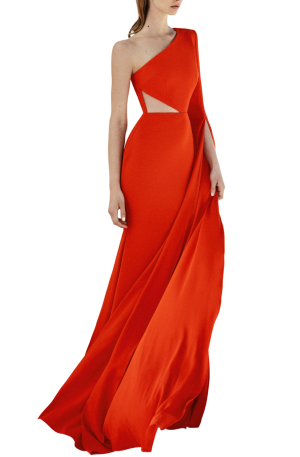 Ava Satin Crepe One Shoulder Sleeve Gown