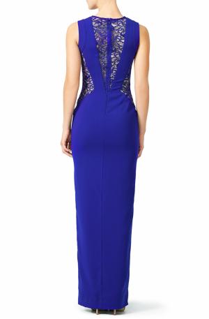 Blue Lace Crepe Gown