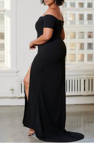 Bridget Off Shoulder Gown – Black