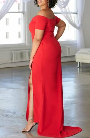 Bridget Off Shoulder Gown – Red