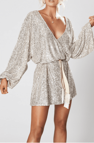 Broadway Short Dress – Silver
