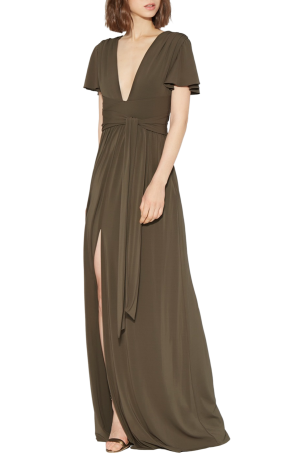 Flutter Sleeve Wrap Jersey Gown