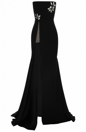 Fallon Satin Crepe Strapless Crystal Gown