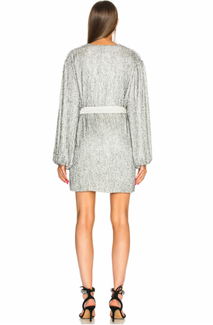 Gabrielle Robe Dress – Silver Sequin