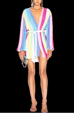 Gabrielle Robe Dress – Unicorn Stripes