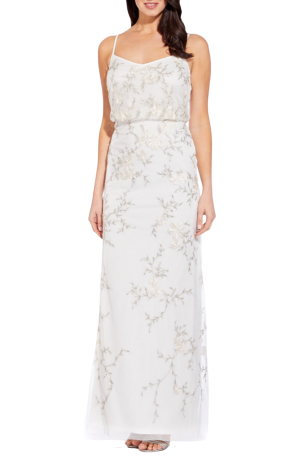 Ivory Floral Beaded Gown