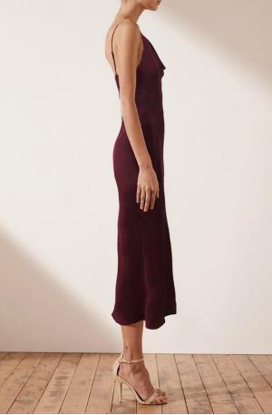 Mia Bias Cowl Midi Dress – Burgundy