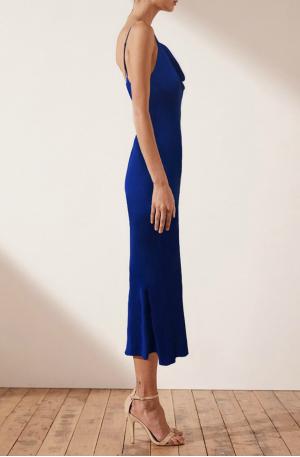 Mia Bias Cowl Midi Dress – Cobalt