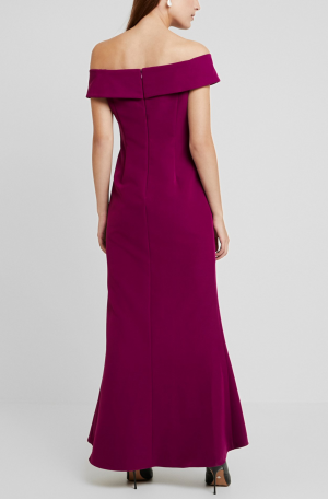 Off Shoulder Draped Crepe Gown – Wildberry