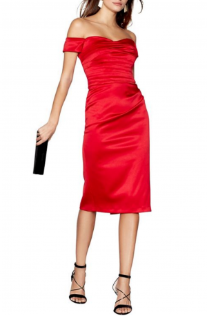 Red Satin 'Origami' Bardot Evening Dress