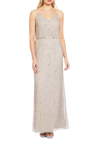 Silver Long Beaded Gown
