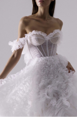 Mira Ruffled Gown - Ivory