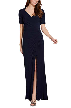 Draped Jersey Gown – Midnight